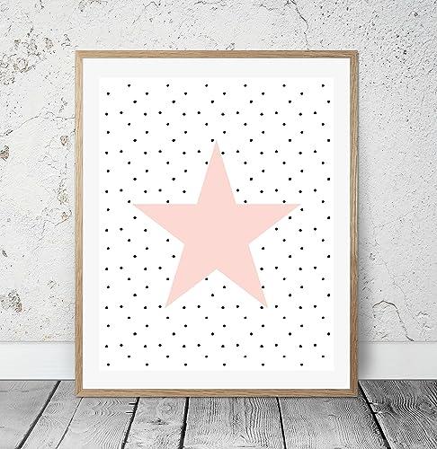 Kinderposter Kinderzimmerbild mit Stern für Mädchen, Baby, Kind ...
