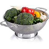 LiveFresh Stainless Steel Micro-Perforated 5-Quart Colander - Professional Strainer with Heavy Duty Handles and Self-draining