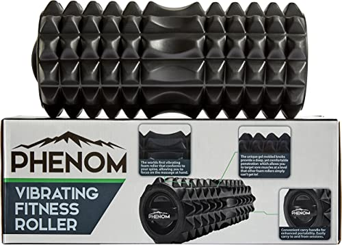 Monument Phenom 3 Speed Vibrating Foam Roller – Myofascial Recovery Release Tension, Stiff Sore Muscles Enhance Mobility, Performance, and Pliability Training Deep Tissue Massage Black