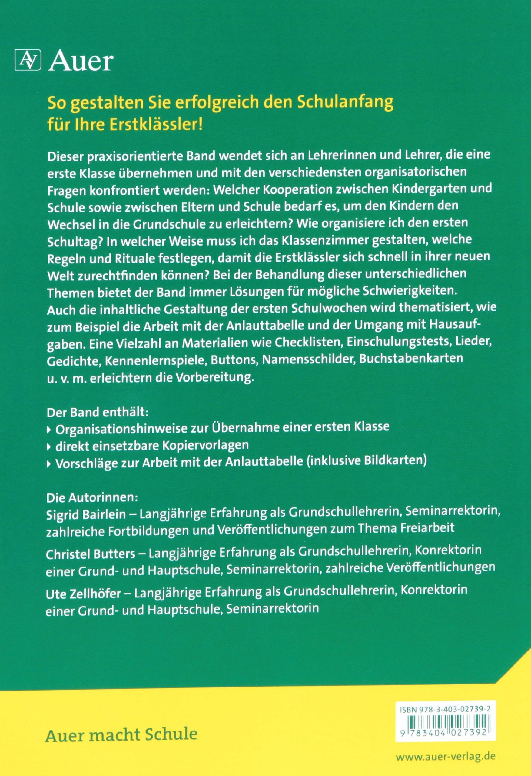 Schulanfang - Hilfen für Lehrer: Materialien und Anregungen 1 ...