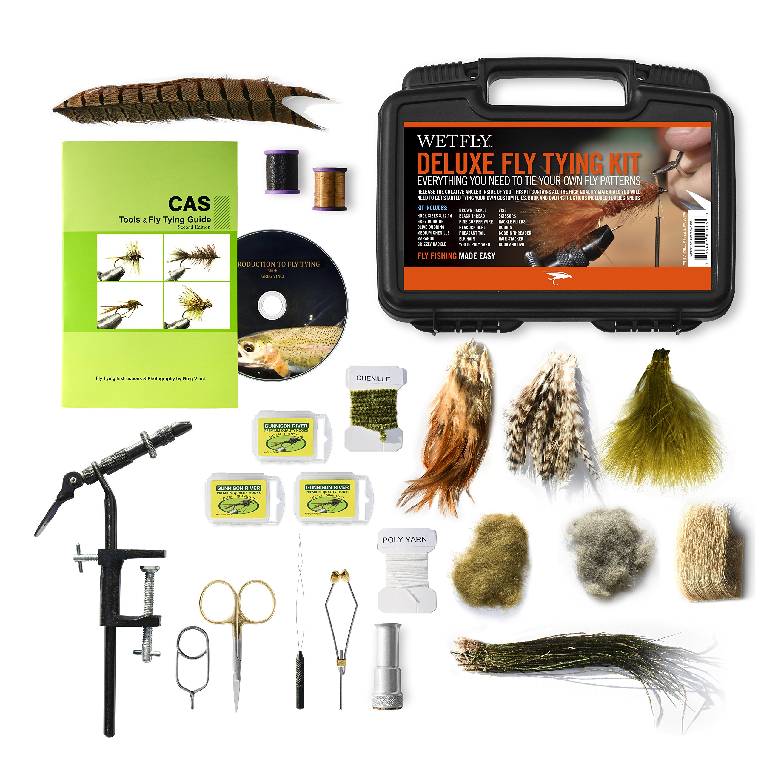 WETFLY Deluxe Fly Tying Kit with Book and Dvd. This Is Our Most Popular Fly Tying Kit. by WETFLY