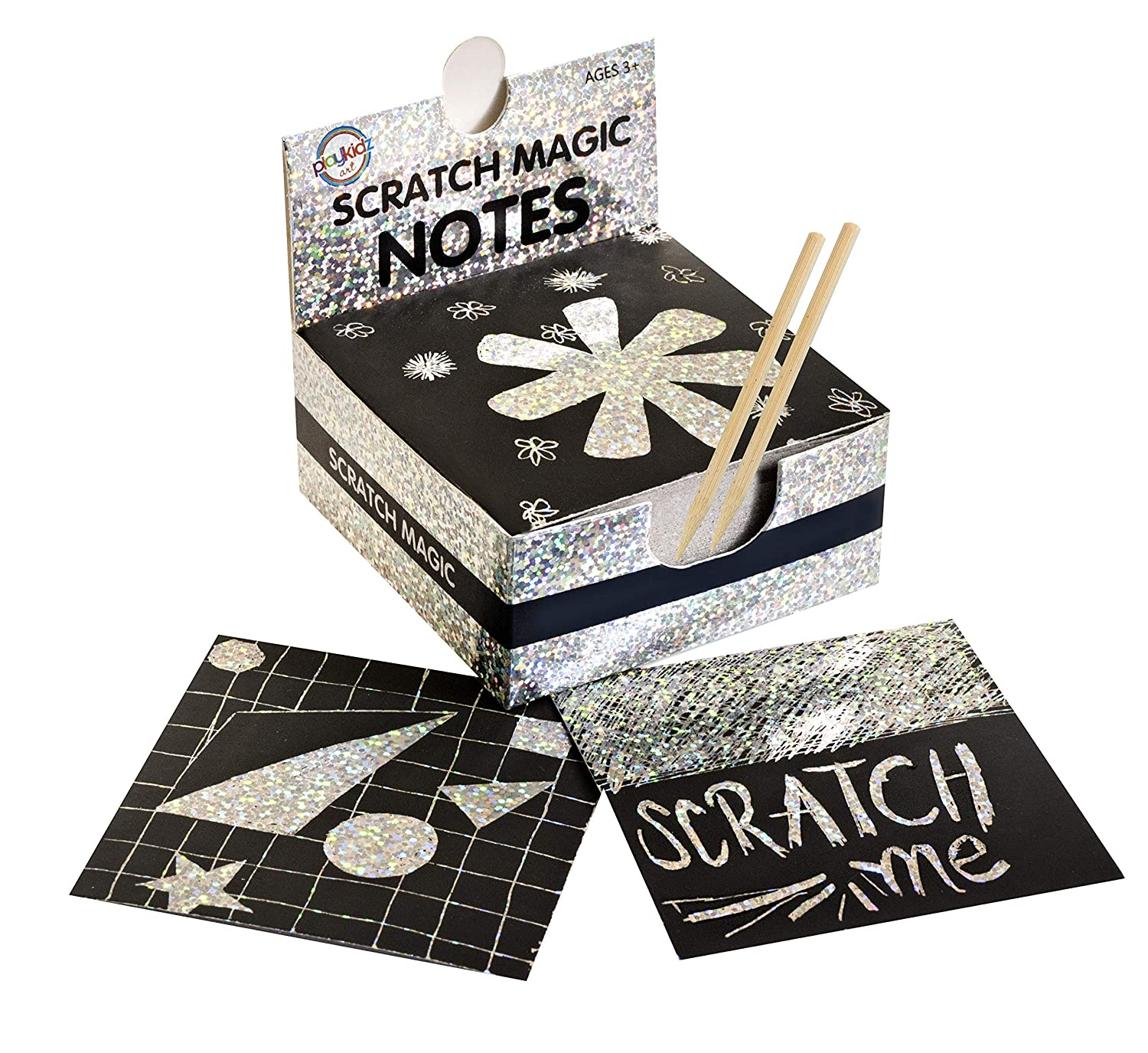 Scratch Art Kit – Magic Scratch Off Notes & [2] Stylus Tools for Kids & Adults – 100 Black Paper Sheets – Create Colorful Holographic Cards, Bookmarks, Notes, Pictures & Other Art Without Ink Playkidz Art