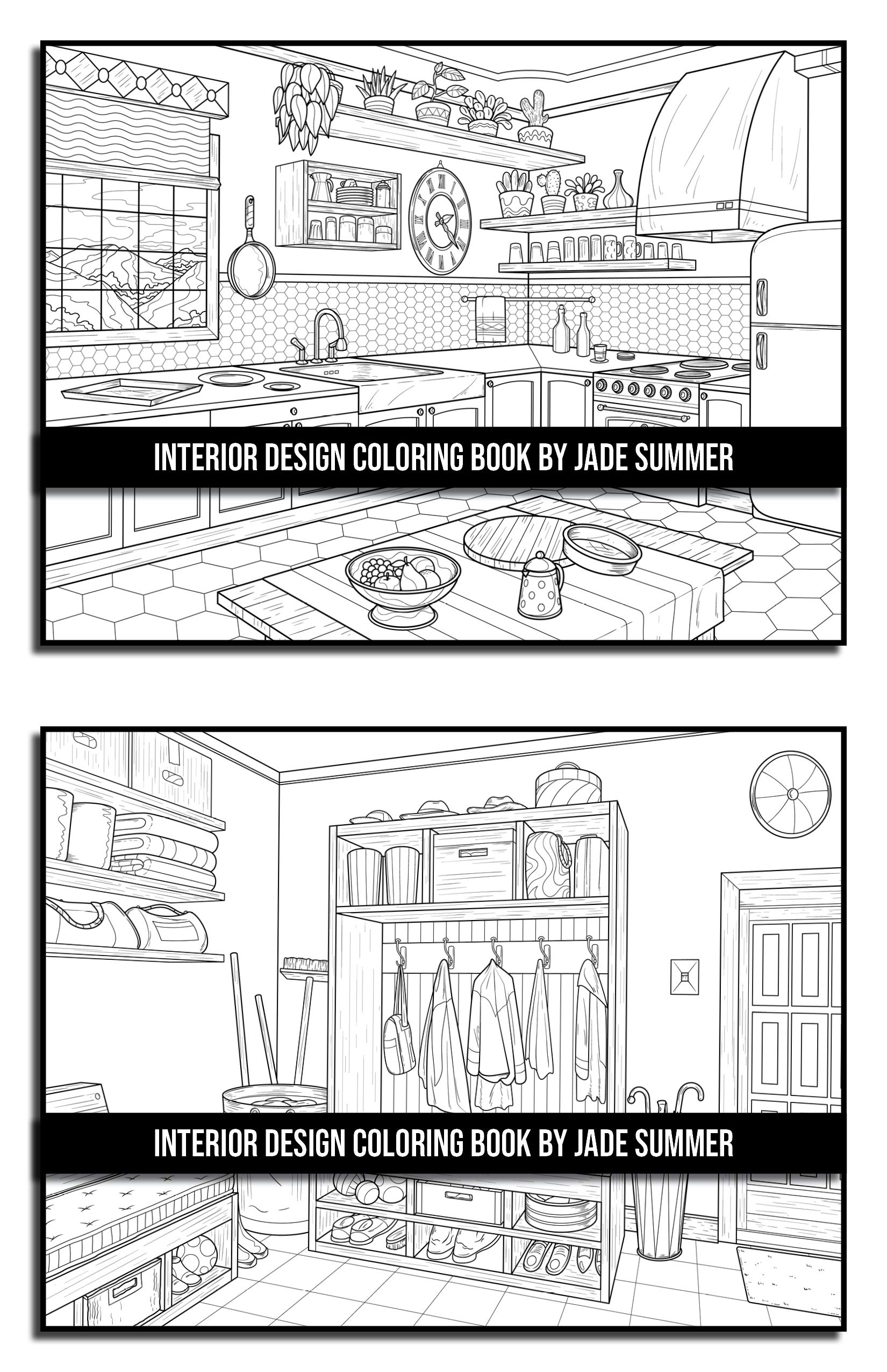 Interior Design Coloring Book An Adult Coloring Book With Inspirational Home Designs Fun Room Ideas And Beautifully Decorated Houses For Relaxation Summer Jade 9798621874339 Amazon Com Books