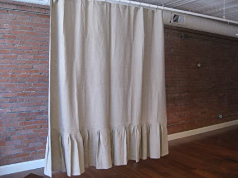 Pure Flax Linen Shower Curtain With Pleated Bottom In Natural Color 72quot