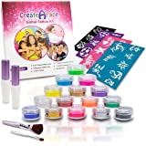 Glitter Tattoo Kit - Body Glitter - Face Glitter Makeup (15 X-Large Pots, 6 UV Reactive, 32 Cool.