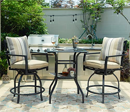 LOKATSE HOME 3 Piece Bistro Table Set Outdoor Bar Height, Outdoor Swivel Bar Sets with 2 Patio Bar Chairs and 1 Glass Top Patio Table