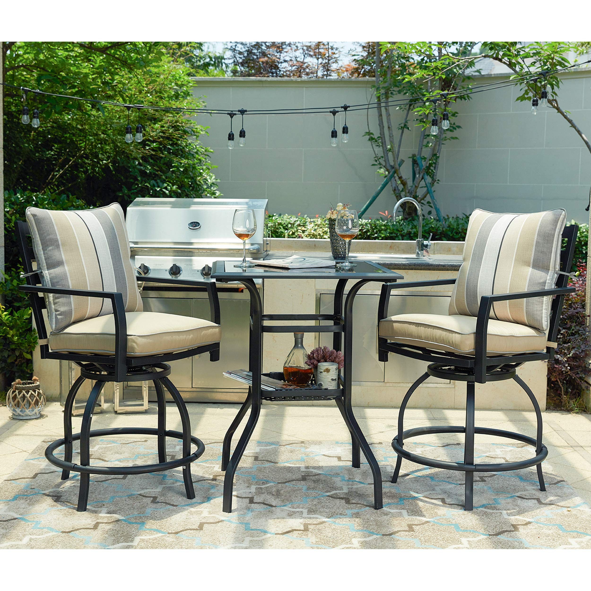 LOKATSE HOME 3 Piece Bistro Set Outdoor Bar Height Swivel with 2 Patio Chairs and 1 Glass Top Table, White and Black