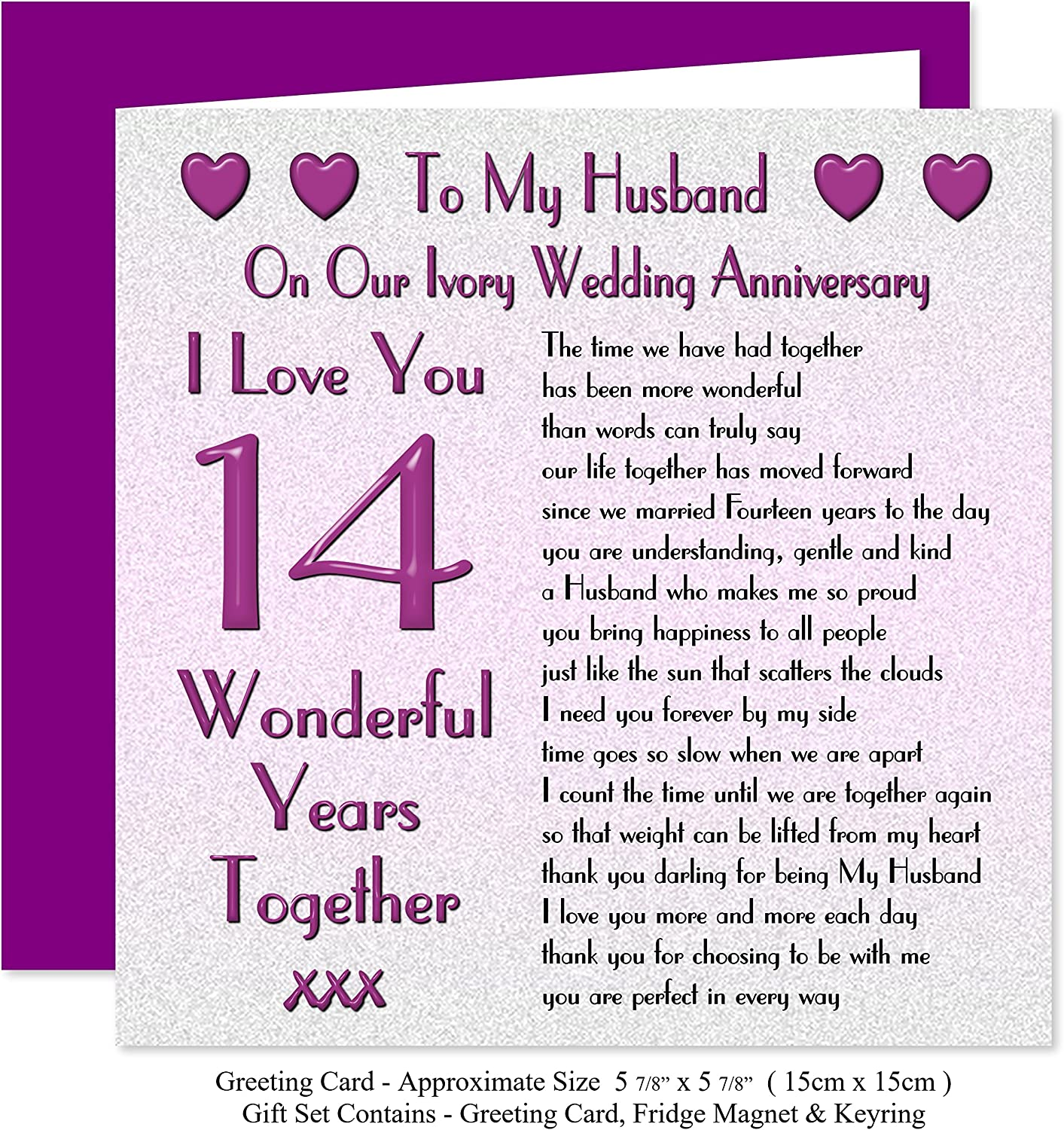 My Husband 14th Wedding Anniversary Gift Set Card Keyring Fridge Magnet Present On Our Ivory Anniversary 14 Years Sentimental Verse I Love You Amazon Co Uk Office Products