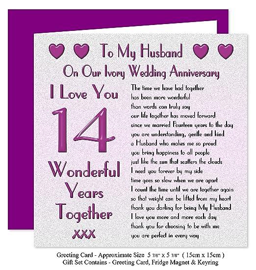 My Husband 14th Wedding Anniversary Gift Set Card Keyring