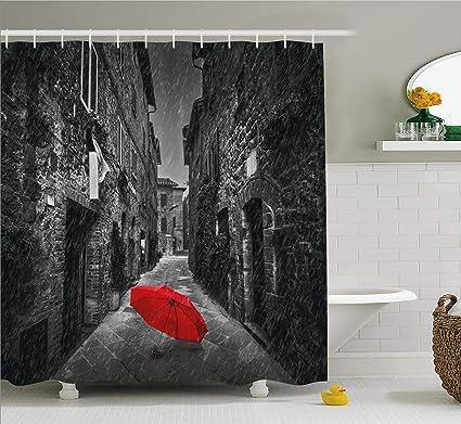 Negro y Blanco Cortina de ducha de decoración por Ambesonne, paraguas rojo en la oscuridad