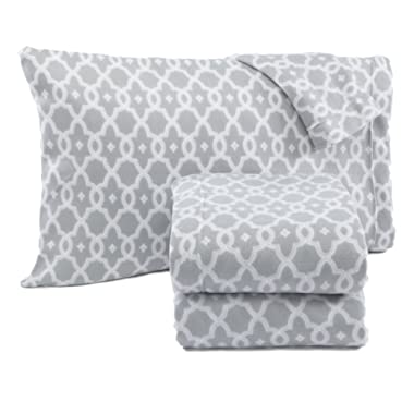 Home Fashion Designs Dara Collection Super Soft Extra Plush Polar Fleece Sheet Set. Cozy, Warm, Durable, Smooth, Breathable Winter Sheets with Printed Pattern Brand. (Queen, Grey)