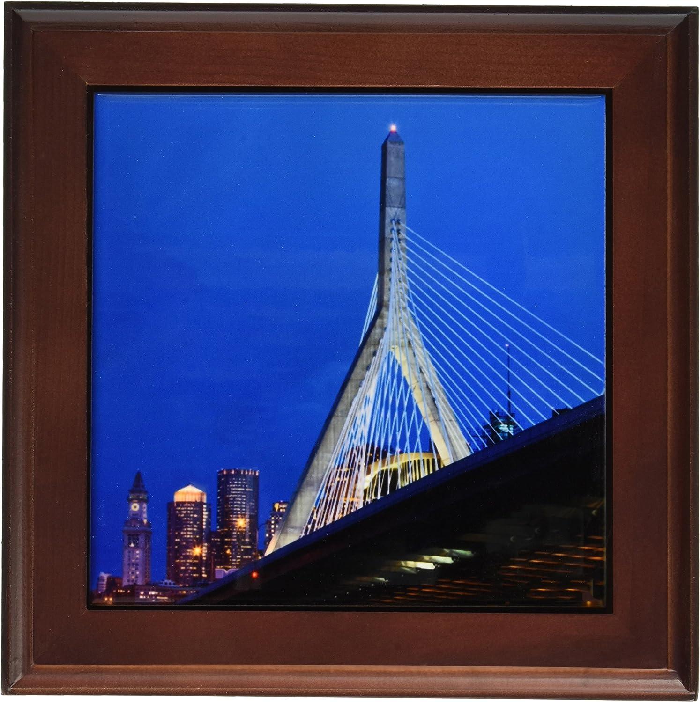 3dRose ft_91023_1 USA, Massachusetts, Boston. The Zakim Bridge - US22 WBI0625 - Walter Bibikow - Framed Tile, 8 by 8-Inch
