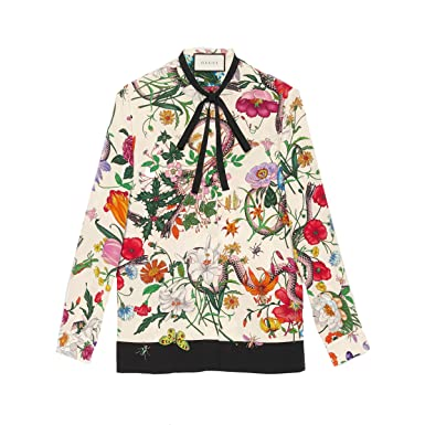 c92557ba7 Gucci Women's 454786ZIP589285 Multicolor Silk Shirt: Amazon.co.uk ...