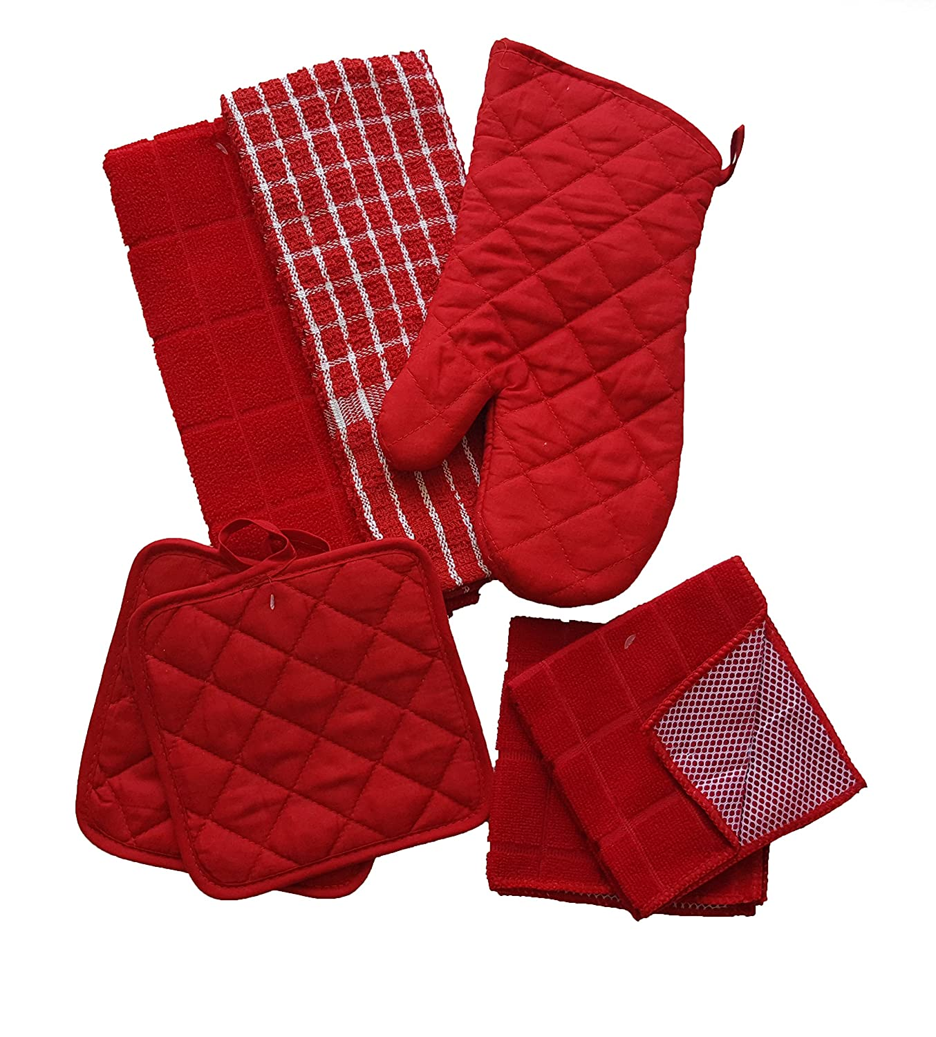 The Spotted Moose Colorful Red and White 7 Piece Kitchen Linen Bundle With 2 Dish Towels, 2 Dish Cloths, 2 Potholders, and 1 Oven Mitt
