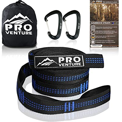 Pro Hammock Tree Straps with CARABINERS - 11 Feet, Adjustable 44 Loops, 400LB Rated (1200LB Tested), Easy Set up, Heavy Duty But Lightweight.: Garden & Outdoor