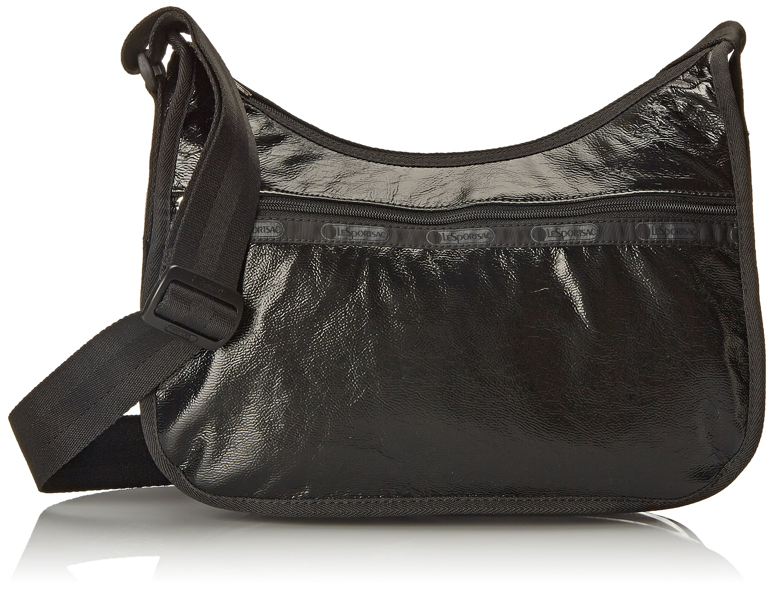 LeSportsac Classic Hobo Hand Shoulder Bag, Black Crinkle Patent, One Size