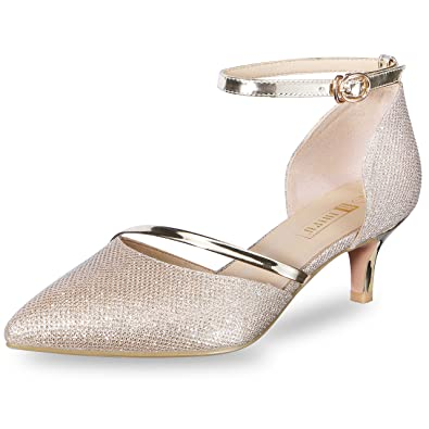 8ae1251d15a IDIFU Women s IN2 Maxine Sequins Mid Kitten Heels D-Orsay Party Pump Gold 5  B