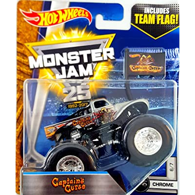 Hot Wheels Monster Jam Captain's Curse Team Flag Chrome: Toys & Games