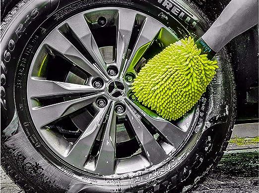Lucfor - Guante de lavado de microfibra 2 en 1 para coche, evita arañazos, barniz suave, repelente de insectos y suciedad en la parte posterior, ligero, agarre firme en manos grandes y