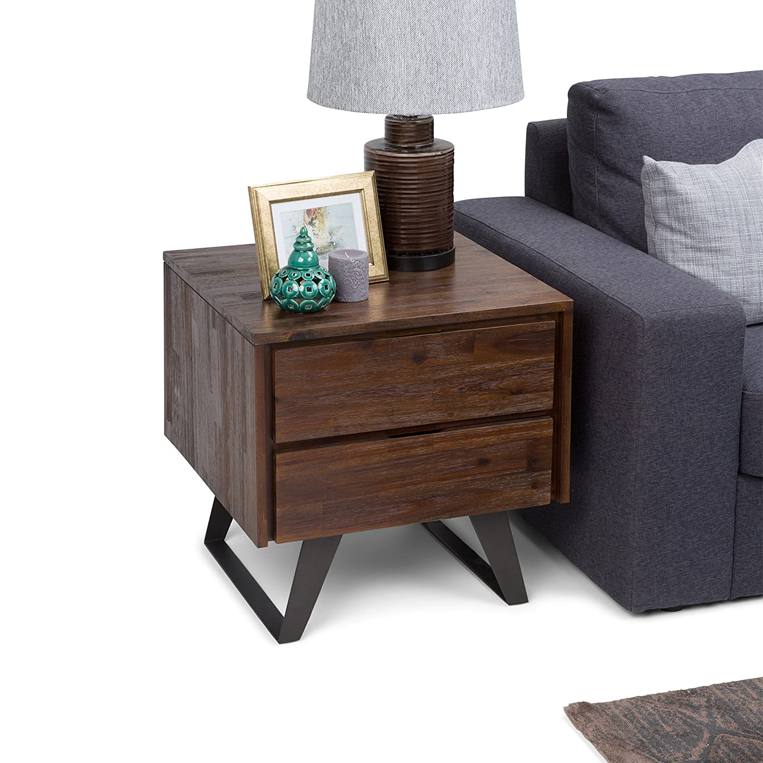 Simpli Home AXCLRY-04 Lowry Solid Acacia Wood and Metal 22 inch wide Square Modern Industrial End Side Table in Distressed Charcoal Brown