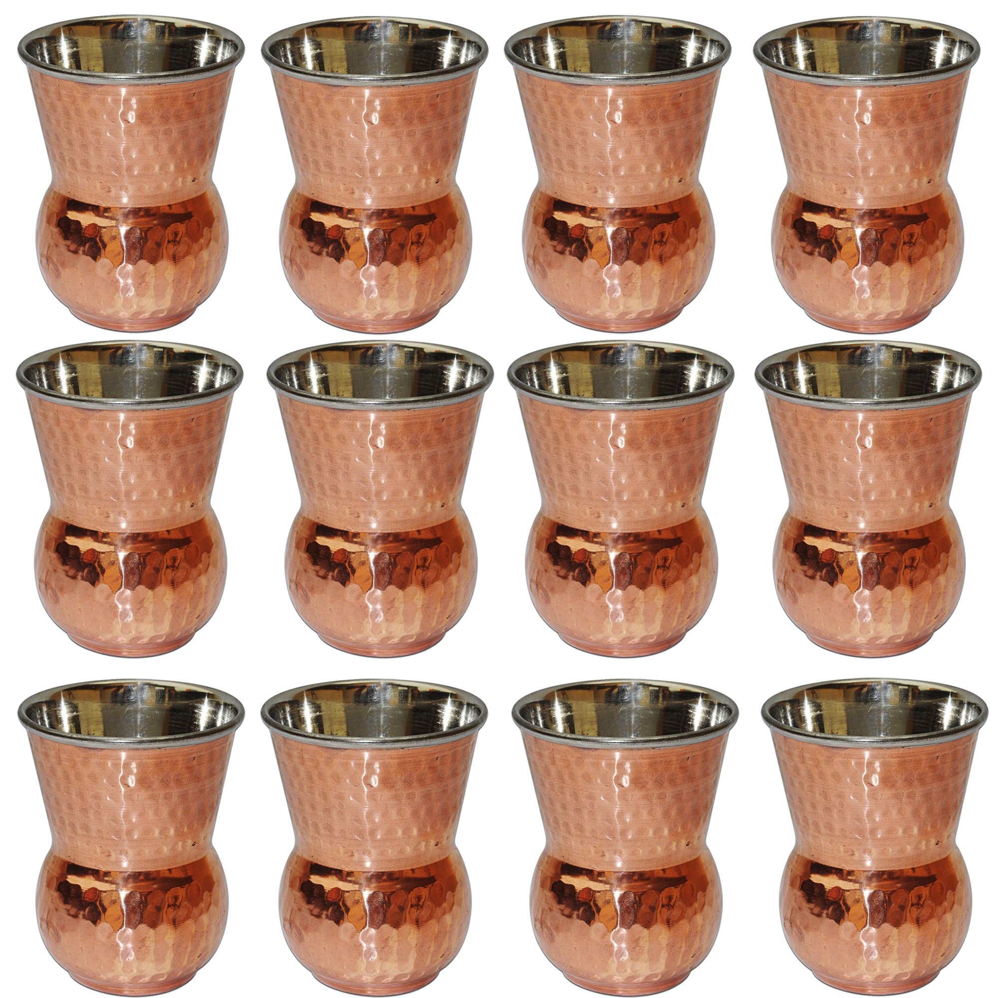 Copper Water Glasses Set of 12 - Indian Drinkware Accessory Mughal Style Tumbler, Capacity 400 Ml