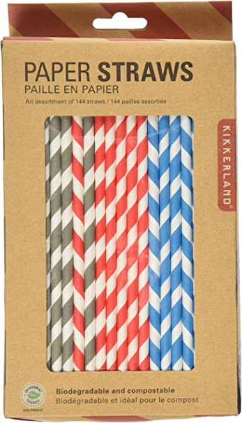 Kikkerland Paper Straws 144 Pack Red//White Biodegradable Party Supplies