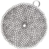 LauKingdom Cast Iron Cleaner, Anti-Rust Stainless Steel Chainmail Scrubber with Corner Ring, Round