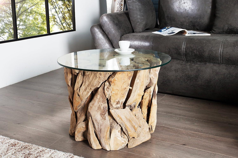DuNord Design Couchtisch Treibholz Glastisch Glas Holz Tisch 60cm ...