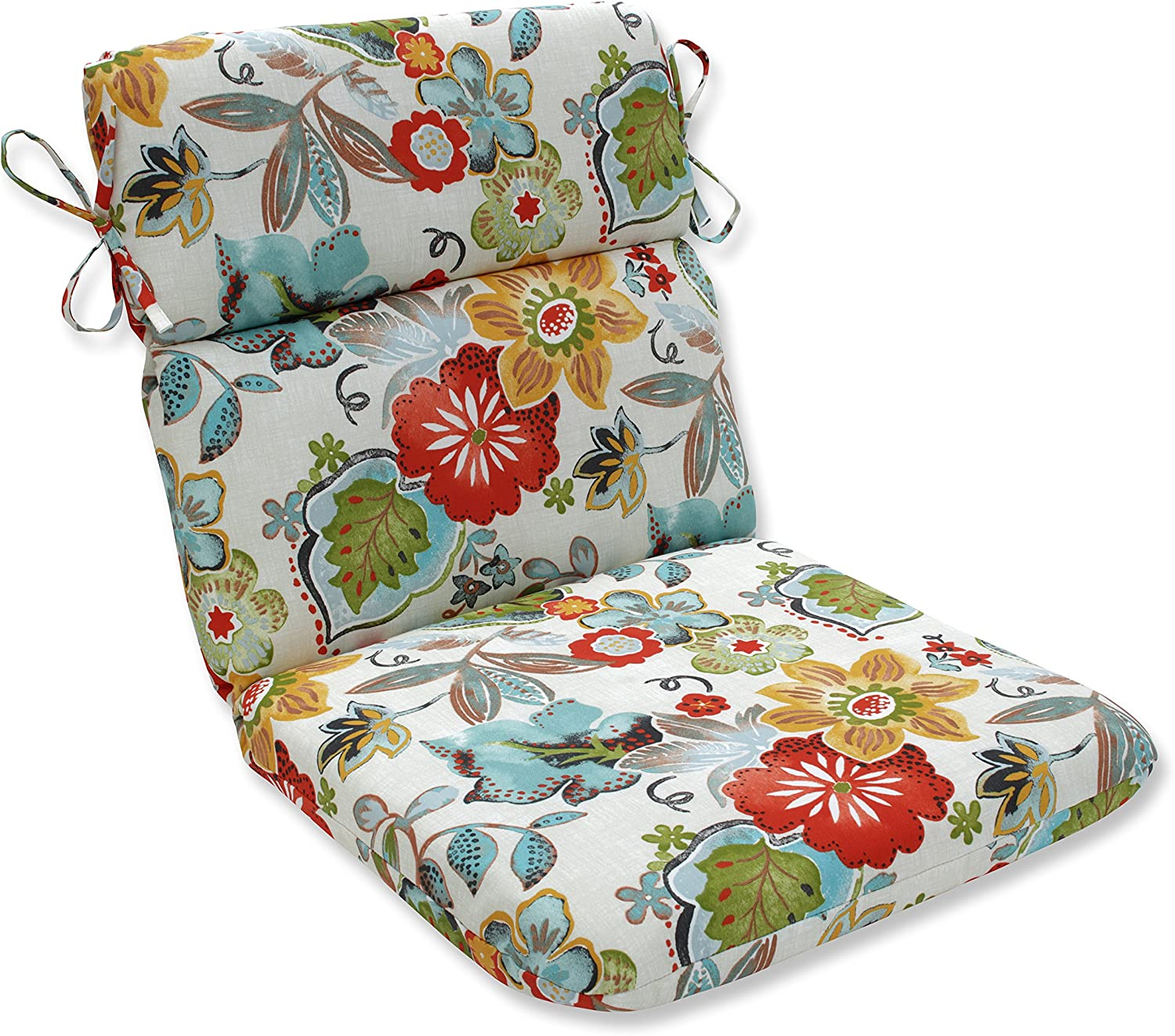 """Pillow Perfect Outdoor/Indoor Alatriste Ivory Round Corner Chair Cushion, 40.5"""" x 21"""", Floral"""