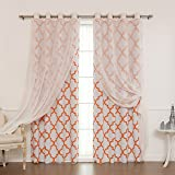 """Best Home Fashion Mix & Match Muji Sheer Linen and Room Darkening  Reverse Moroccan Print Curtain Set – Stainless Steel Nickel Grommet Top – Orange – 52""""W x 84""""L – (2 Curtains and 2 Sheer curtains)"""