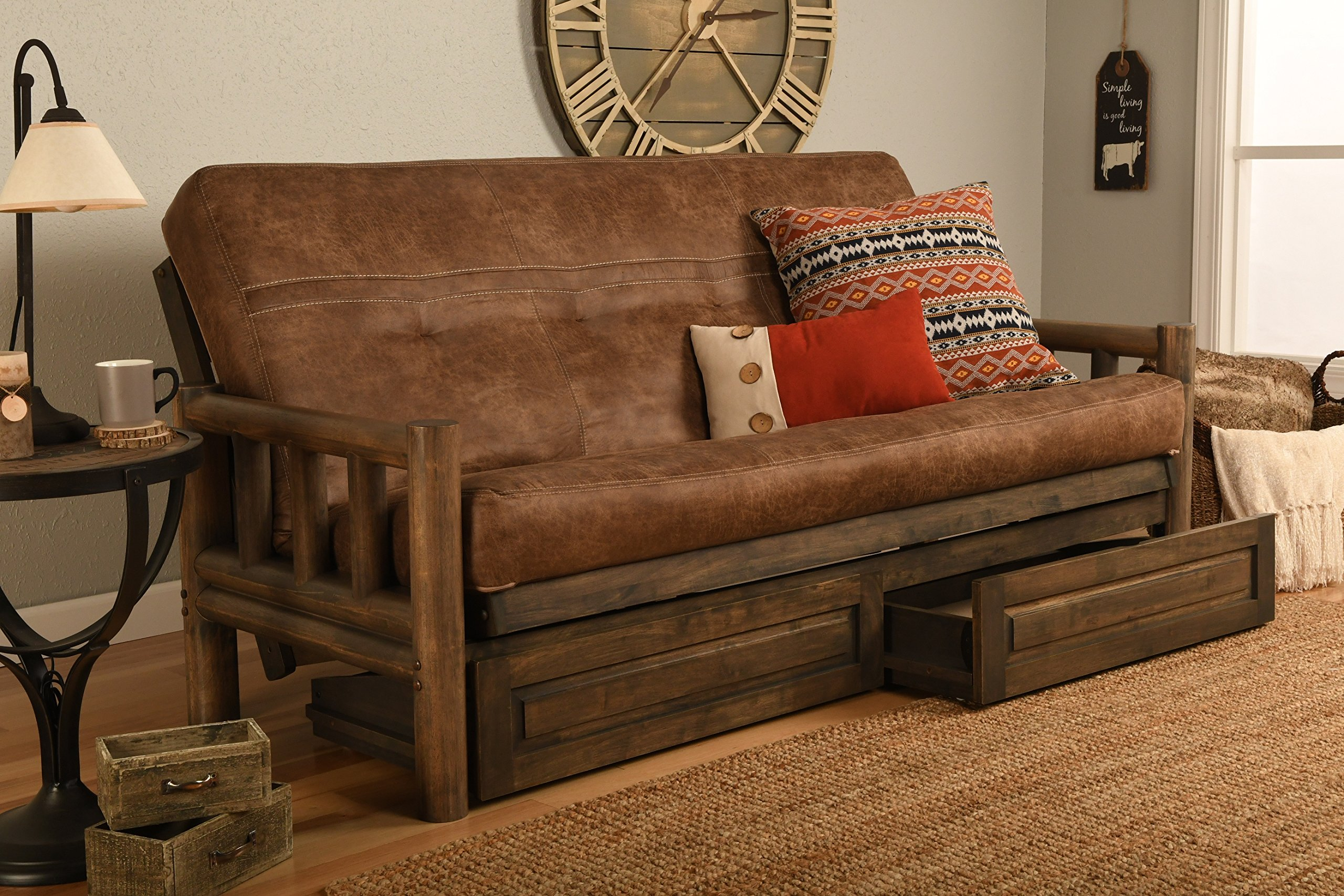 Rustic Lodge Wood ''Frame, Drawers and Mattress'' 8 Inch Innerspring Mattress Futon Set by Jerry Sales (Palance Silt Fabric)