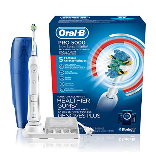 Oral-B Pro 5000 SmartSeries Power Rechargeable Electric Toothbrush with Bluetooth Connectivity and Travel Case, White, Powered by Braun