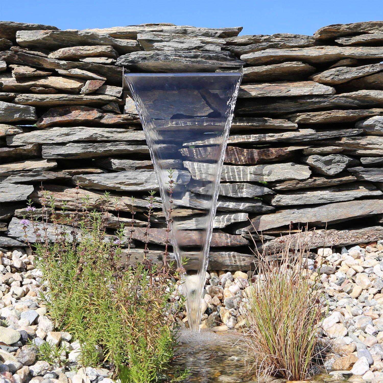 Edelstahl Wasserfall 60cm Element für Gartenteich Wasserlauf ...