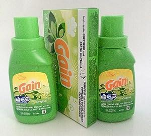 (2) Gain Original Laundry Detergent 10 Oz Travel Size Pack Plus Gain Dryer Sheets, Original Scent 15ct
