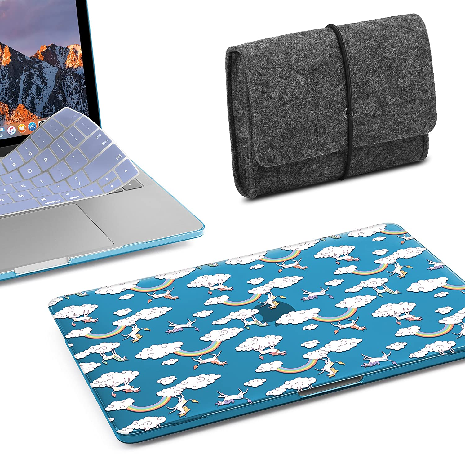 GMYLE 5 in 1 Starter Bundle: Water Repellent Sleeve, USB C Hub, Plastic Hard Case, Screen Protector & Keyboard Cover MacBook Pro 13 inch 2016-2018 Without Touch Bar(A1989/A1706/A1708) NPL550003