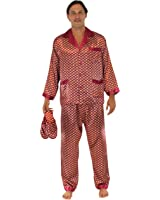 P.H. Men's Satin Pajama and Slipper Gift Set