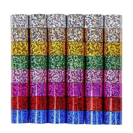 QH-Shop Cinta Adhesiva Decorativa Reflexivo Washi Tape Mini Masking Tape con Caja de Almacenamiento