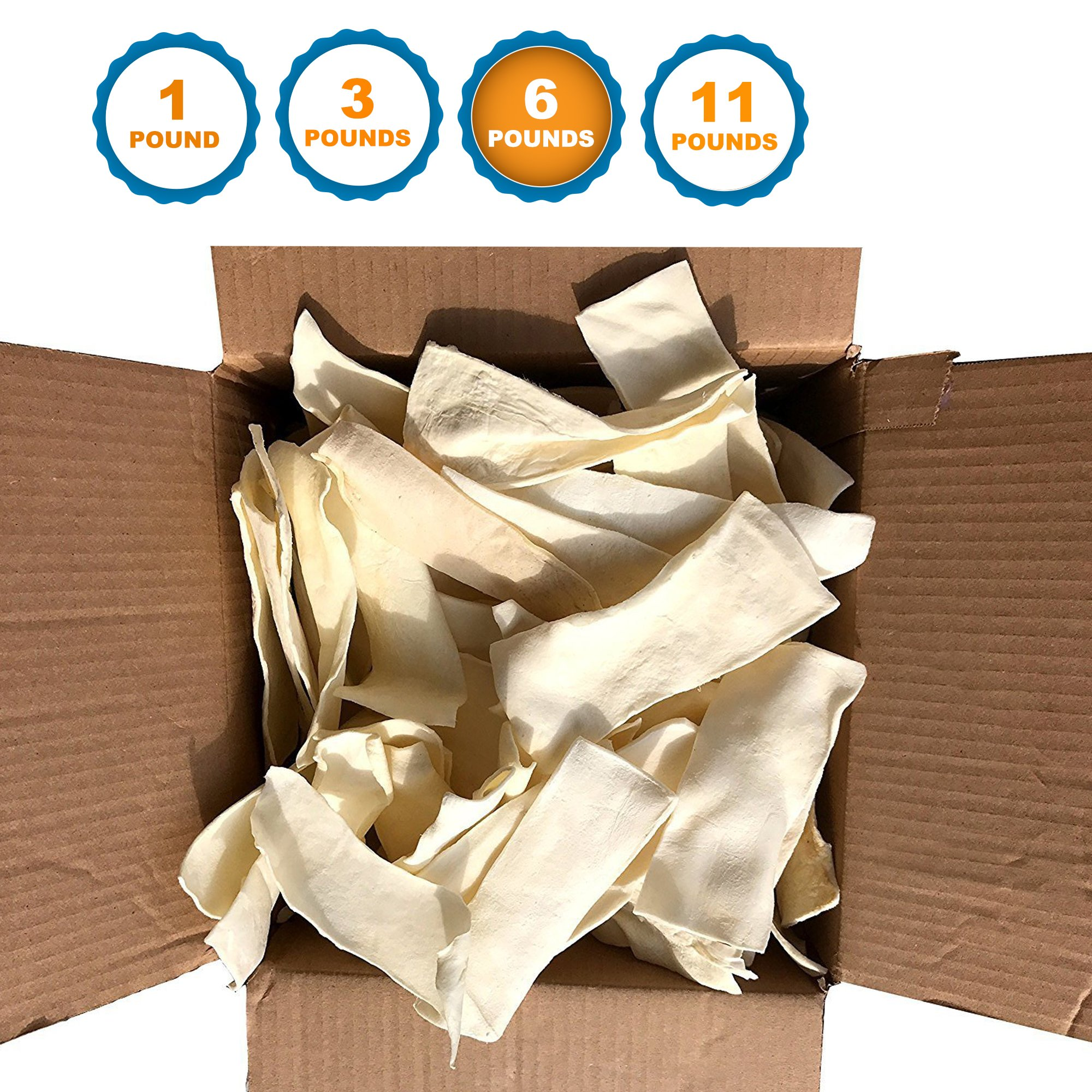 123 Treats - Rawhide Chips for Dogs (6 Pounds) Quality Bulk Dog Chews - No Additives, Chemicals or Hormones From Natural Grass Fed Livestock