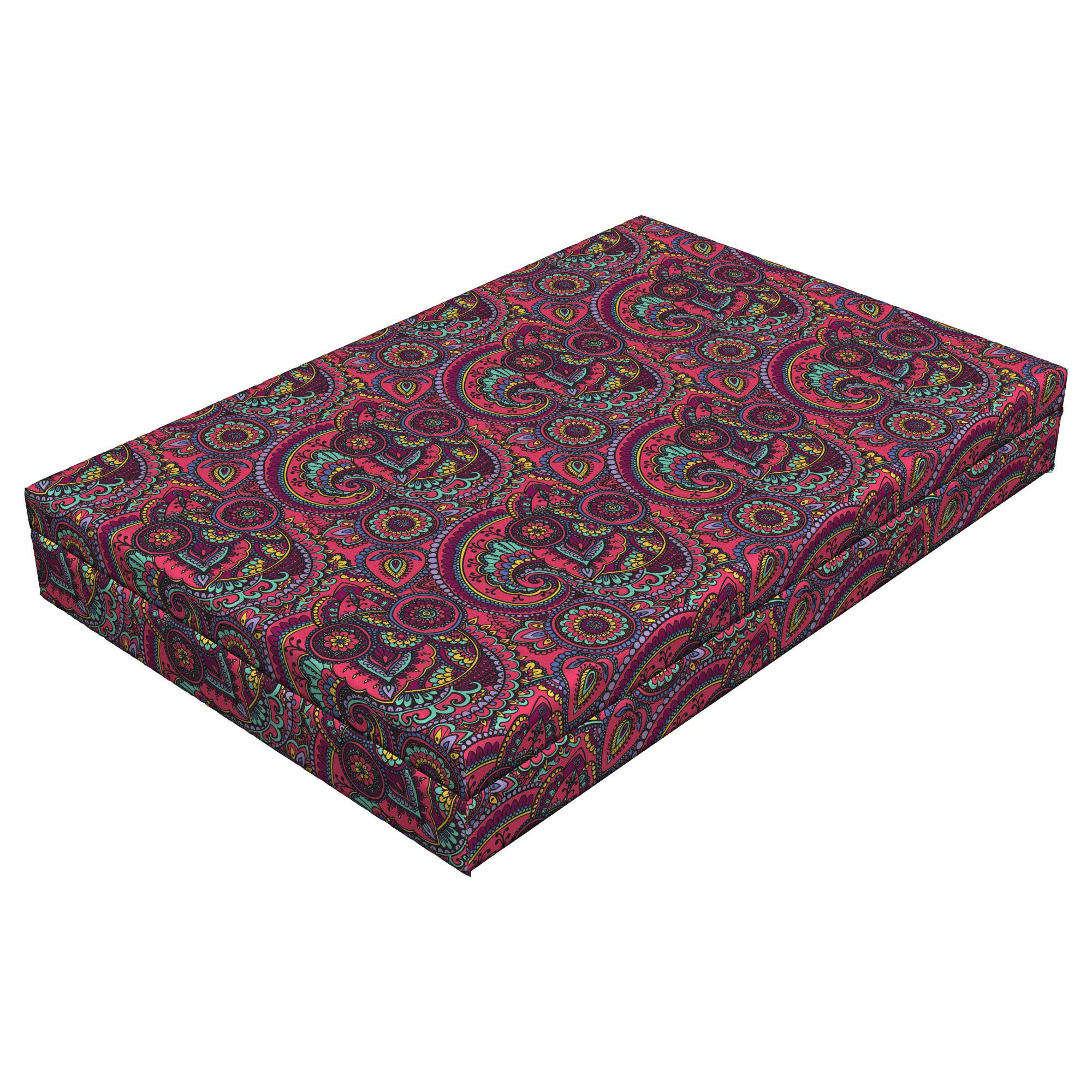 Lunarable Paisley Dog Bed, Vibrant Color Palette with Floral Traditional Geometrical Shapes Teardrop, Durable Washable Mat with Decorative Fabric Cover, 48'' x 32'' x 6'', Pink Seafoam Yellow