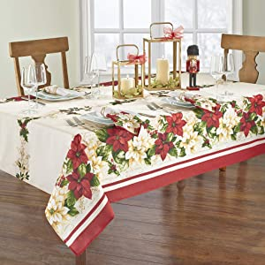 Elrene Home Fashions Red and White Poinsettia Christmas Holiday Fabric Tablecloth, 60