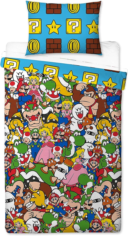 Super Mario - Funda de edredón, Multicolor, 200 x 130 cm