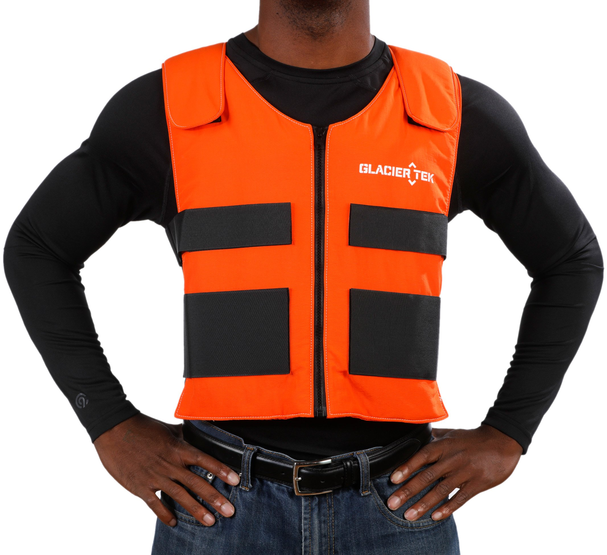 Glacier Tek Sports Cool Vest with Set of 8 Nontoxic Cooling Packs Orange by Glacier Tek (Image #3)