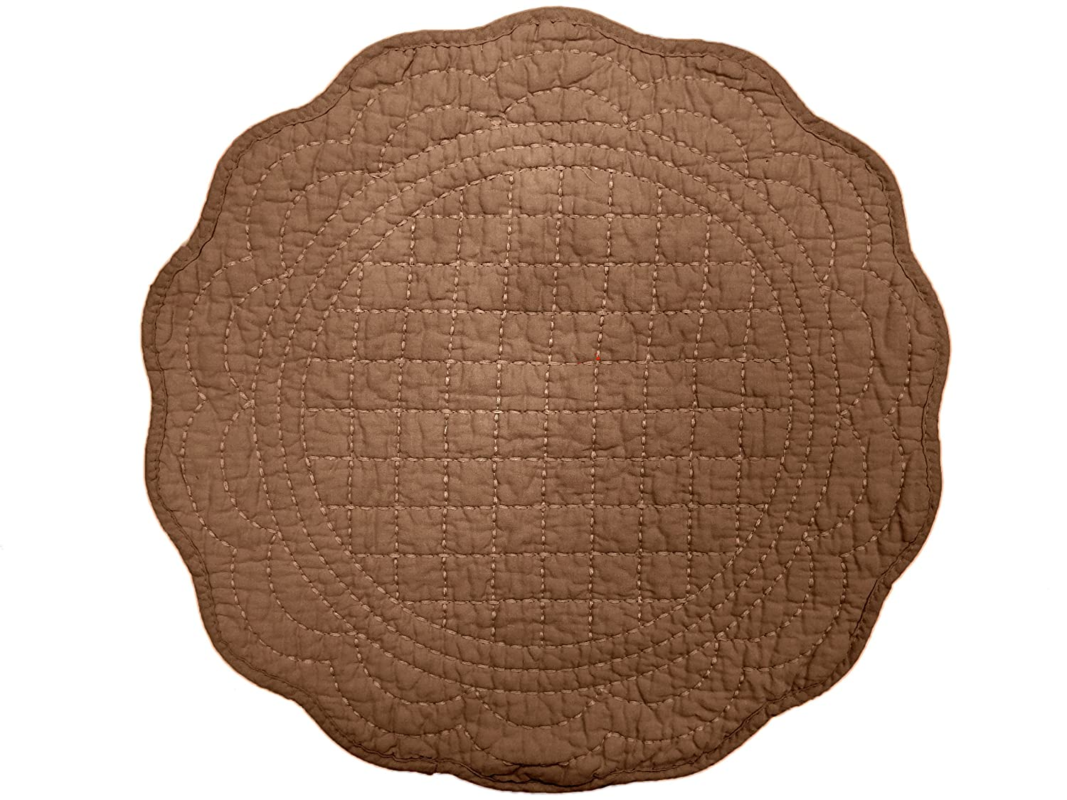Chocolate Quilted Double Stitching Placemats Set of 4
