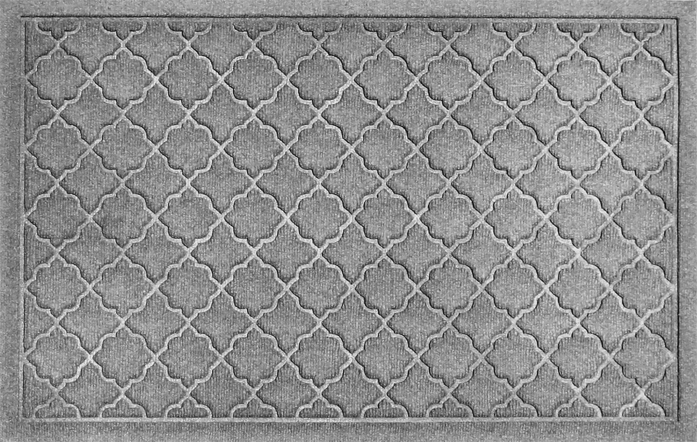 Bungalow Flooring Waterhog Doormat, 2' x 3', Skid Resistant, Easy to Clean, Catches Water and Debris, Cordova Collection, Medium Grey