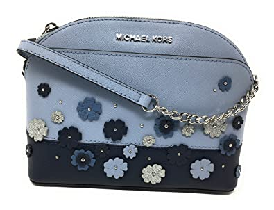 972eb7afe754 Image Unavailable. Image not available for. Color: Michael Kors Emmy Floral  Saffiano Leather Medium Crossbody Bag Pale Blue/Navy