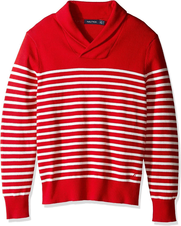 Nautica Mens Long Sleeve Striped Shawl Neck Sweater