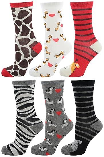 Zest Damas de 6 paquetes de diseño clasificado Calcetines 6 Pack cebra y la jirafa: Amazon.es: Ropa y accesorios