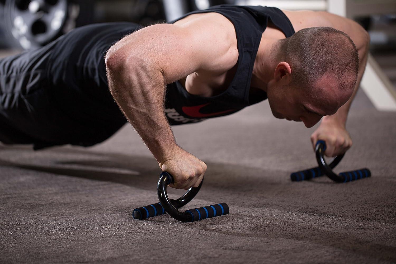 EmpireAthletics Push Up Grips Training en BLEU-NOIR Poign/ées pour Pompes en acier galvanis/é avec rev/êtement en mousse