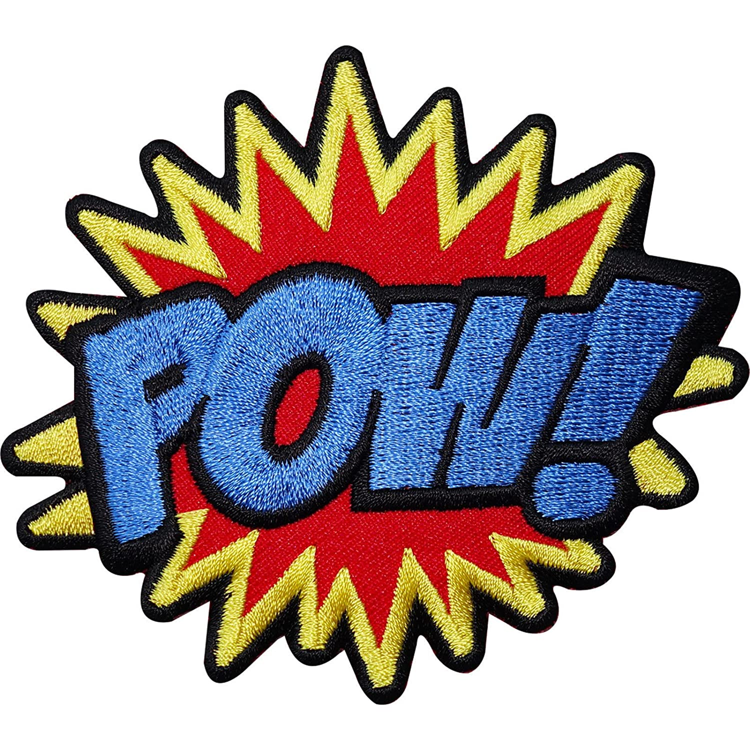 """POW"" letters Embroidery Iron on patch sewn For clothing applique backpack Motif"