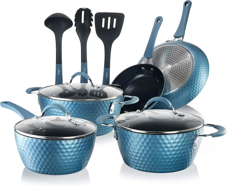 NutriChef Nonstick Cookware Excilon | Home Kitchen Ware Pots & Pan Set with Saucepan, Frying Pans, Cooking Pots, Lids, Utensil PTFE/PFOA/PFOS free, 11 Pcs, Royal Blue